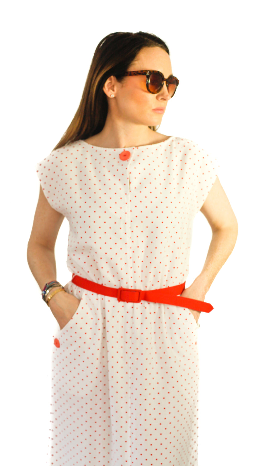 Vintage white and red polka dot dress