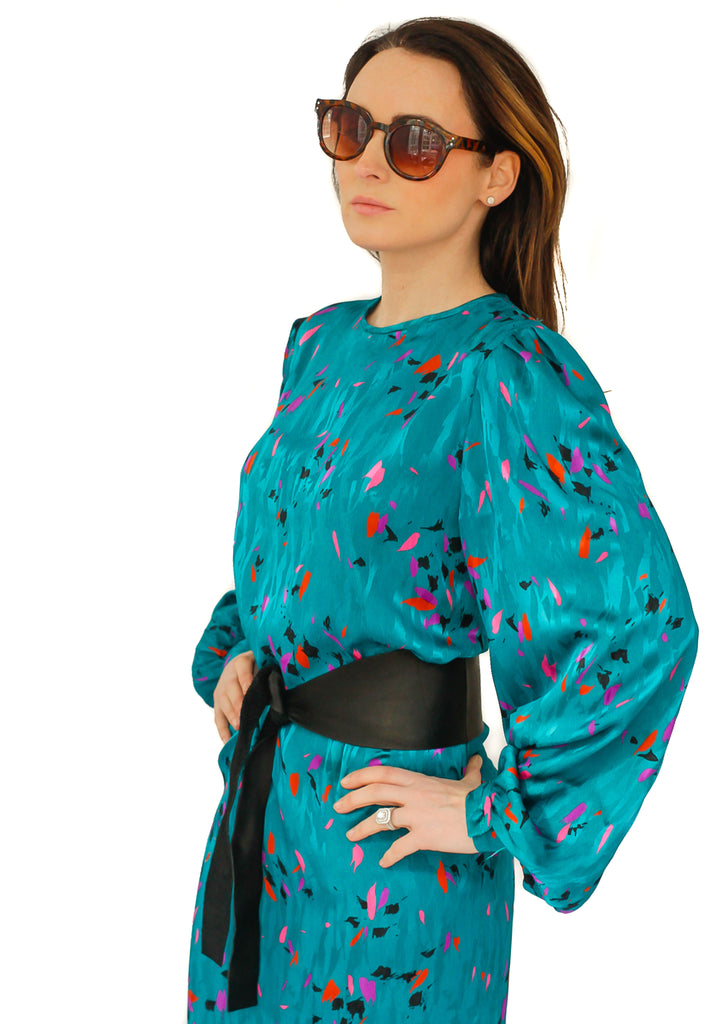 Vintage 1970s abstract print dress