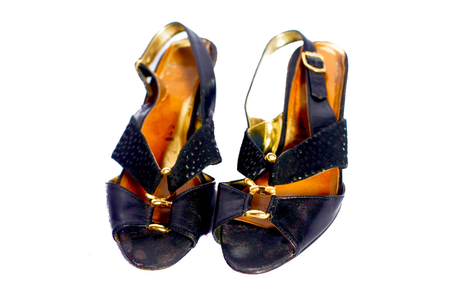 Vintage 70s Black and gold sandals UK 4.5