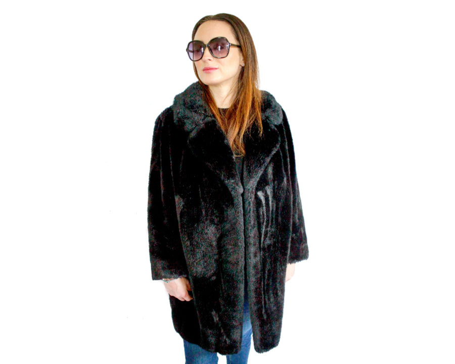 Vintage black faux fur jacket
