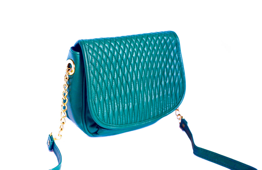 Vintage 90s green quilted crossbody bag