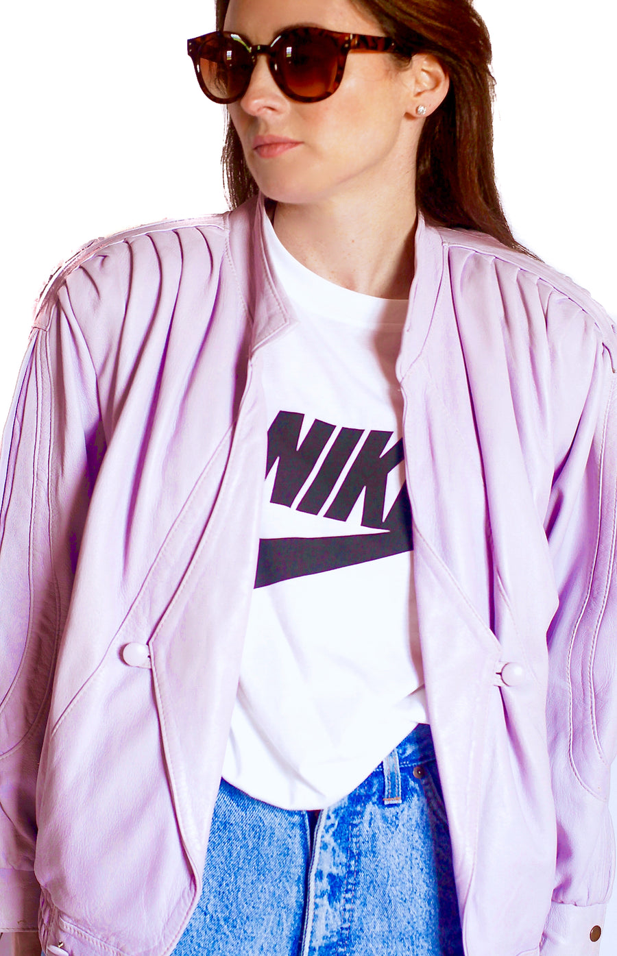 Vintage 1980s lilac leather jacket
