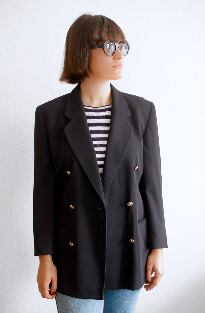 Vintage 80s navy double breasted blazer