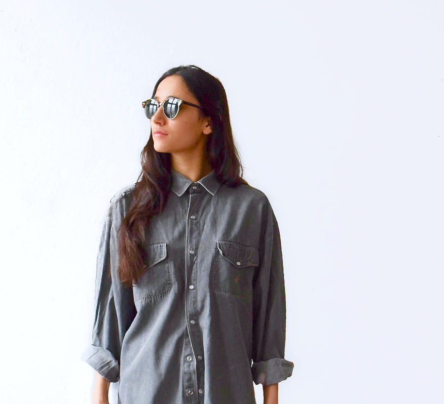 Vintage 1990s grey denim shirt