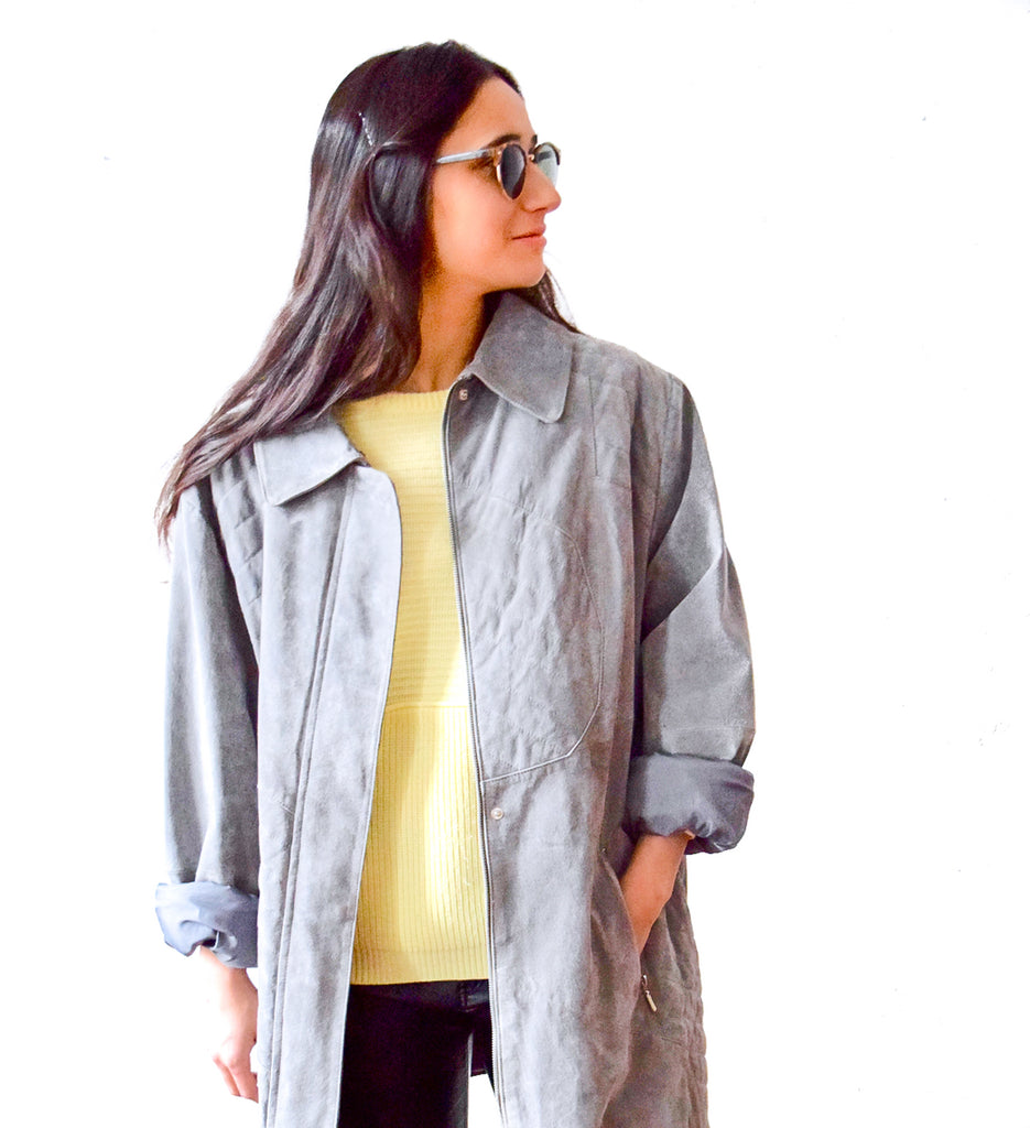Vintage 1990s oversized grey suede coat