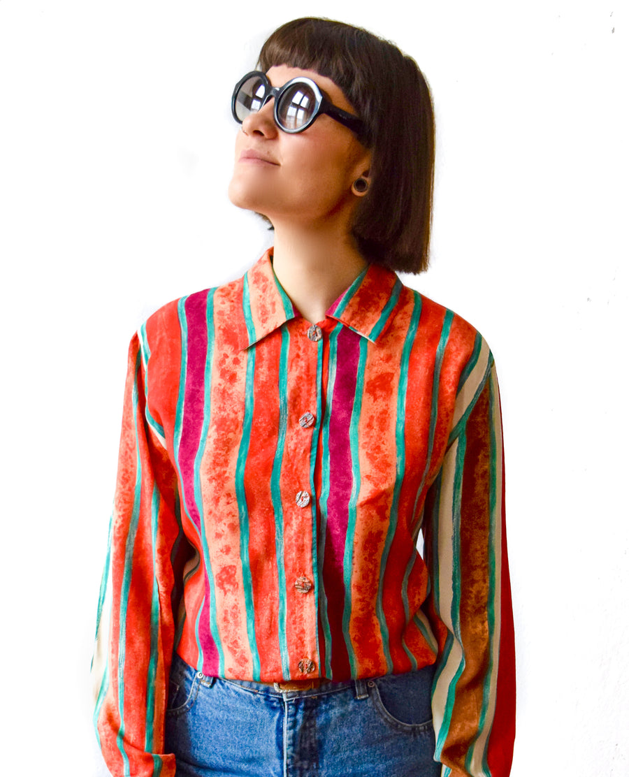 Vintage 90s multicoloured abstract print shirt