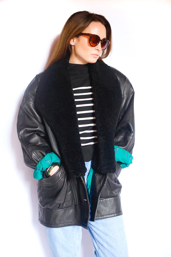 Vintage 1970s black leather aviator sheepskin jacket
