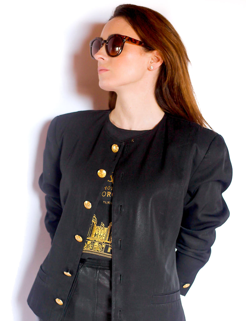Vintage black box jacket with gold buttons
