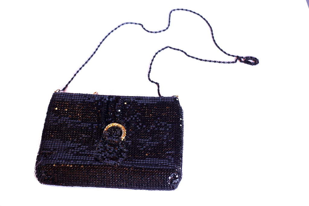 Vintage black and gold chain mail cross body bag