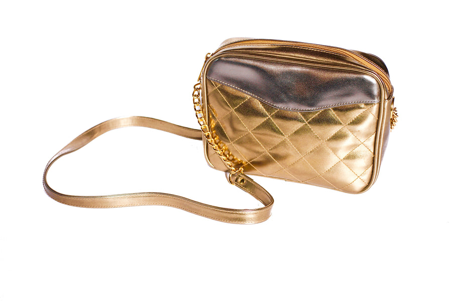 Vintage 80s metallic gold and silver quilted shoulder bag