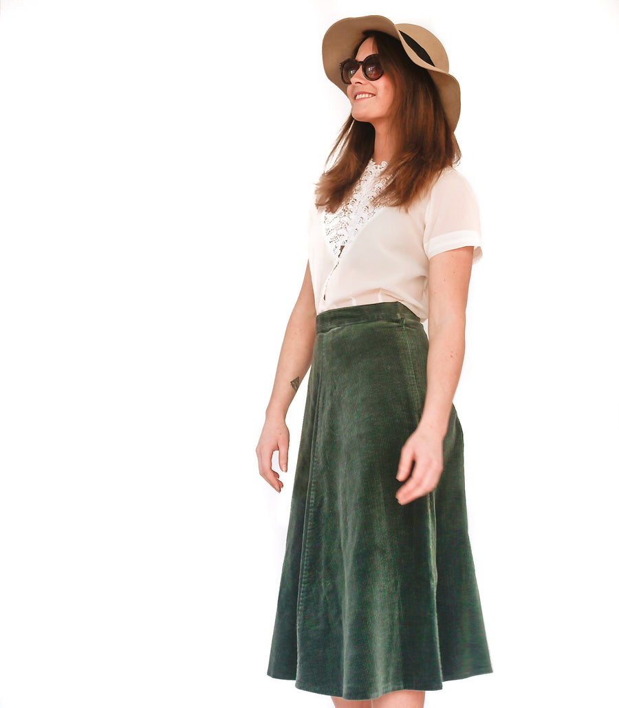 Vintage 1970s green cord maxi skirt