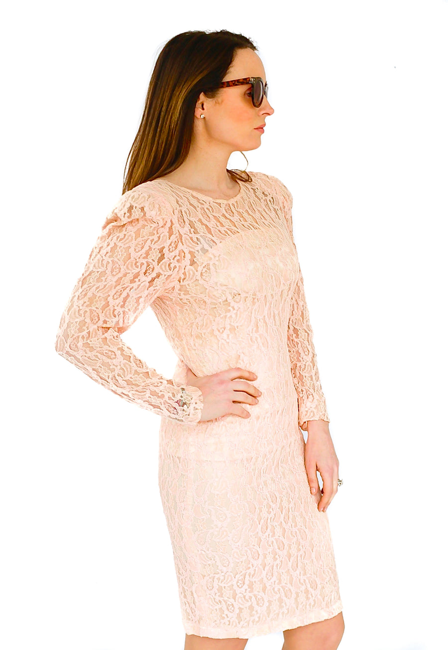 Vintage 1970s lace cocktail dress