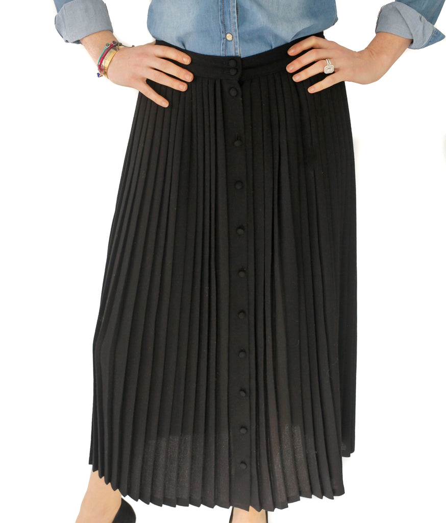 Vintage black pleated button down skirt