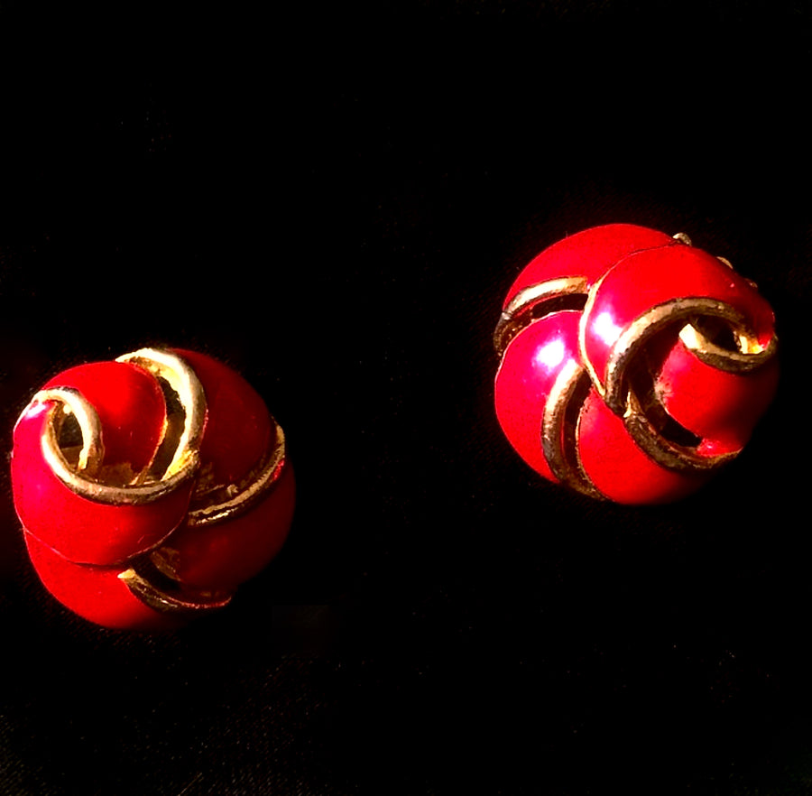 Vintage 80s red and gold earrings