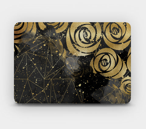 Transparent MacBook Skin - Black Gold Pattern 3