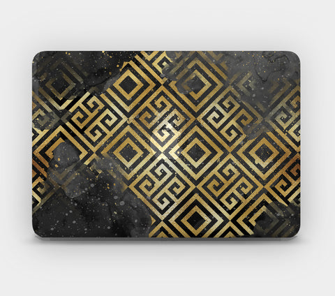 Transparent MacBook Skin - Black Gold Pattern 2