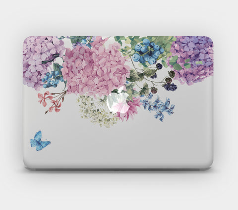 Transparent MacBook Skin - Butterfly and Hydrangeas