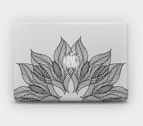 Transparent MacBook Skin - Black Lace Flower
