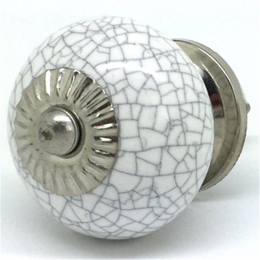Round  Handle - Chalk White Round Crackle