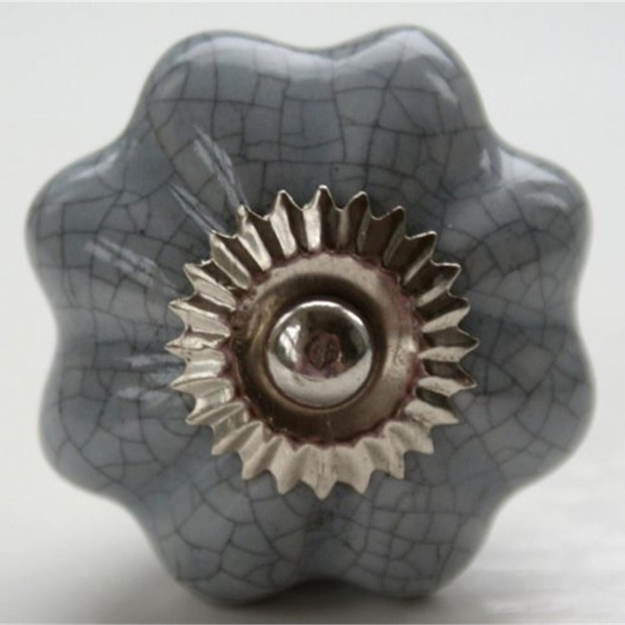 Round  Handle - Pebble Grey Crackle Flower