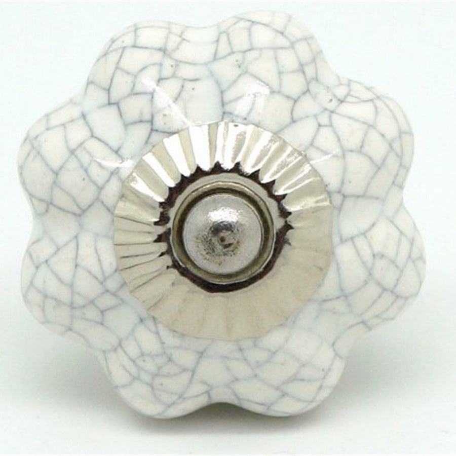 Round  Handle - Chalk White Crackle Flower