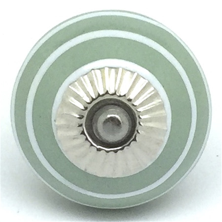 Round  Handle - Sage Green White Stripes