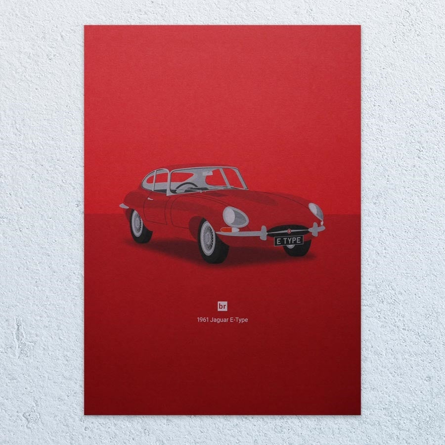 1961 Jaguar E-Type A3 Print (Bright Red)