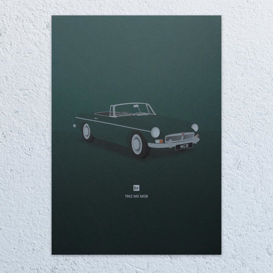 1962 MG MGB A3 Print (Racing Green)