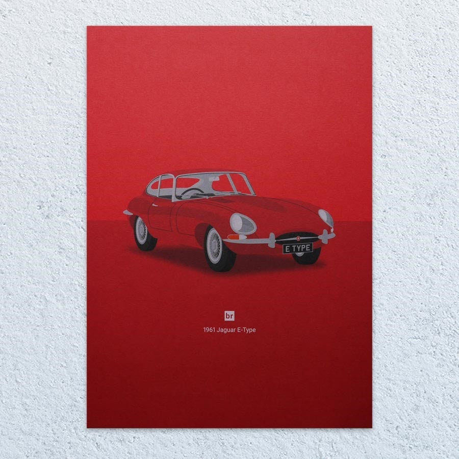 1961 Jaguar E-Type A4 Print (Bright Red)