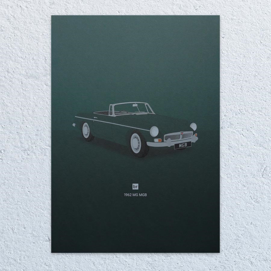 1962 MG MGB A4 Print (Racing Green)