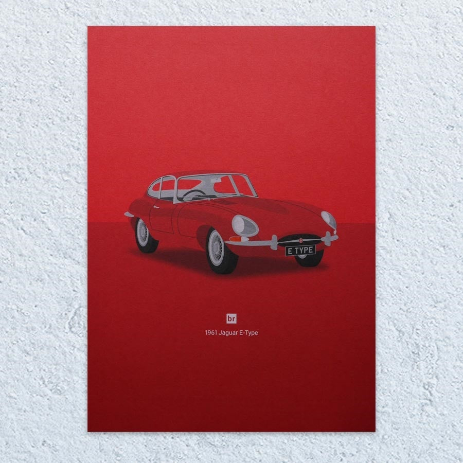 1961 Jaguar E-Type A5 Print (Bright Red)