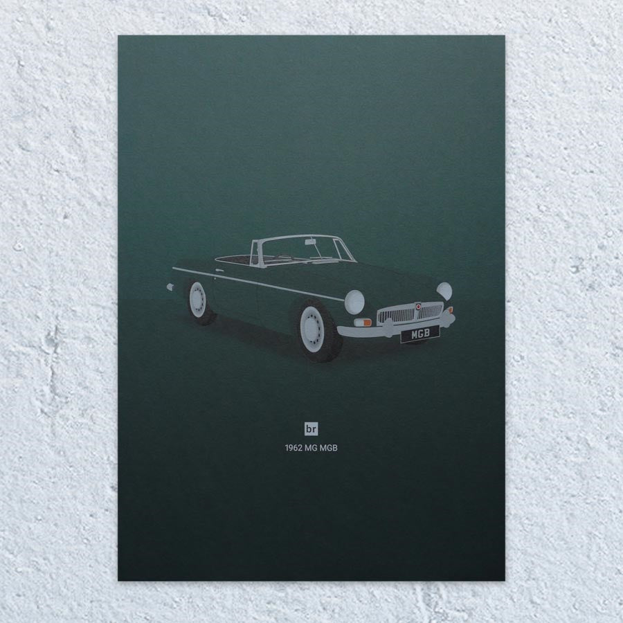 1962 MG MGB A5 Print (Racing Green)