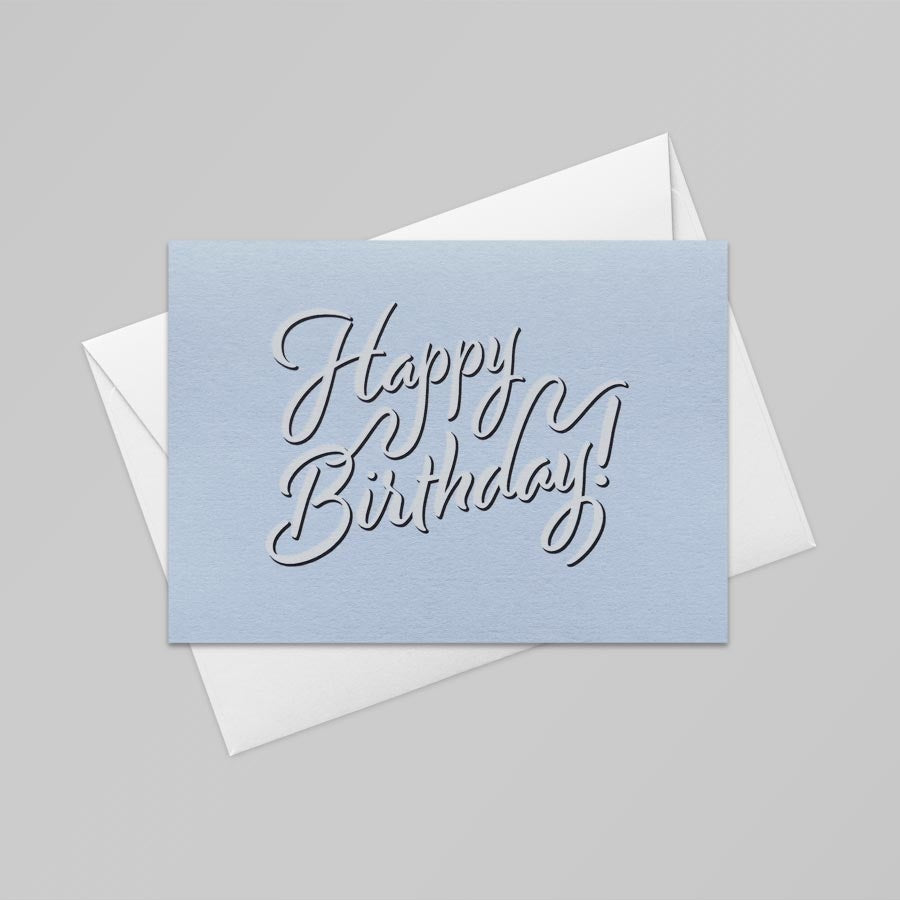 Happy Birthday Card (Azure Blue)