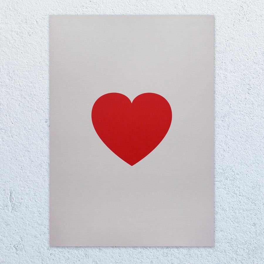 Lovers Heart A3 Print (Bright Red)