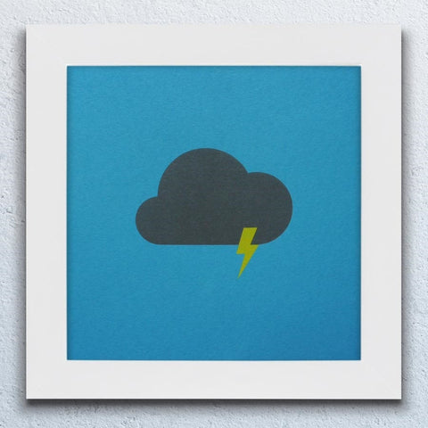 Thundery White Framed Print (Tabriz Blue)