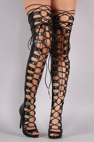 Nail Head Studs Corset Lace Up Stiletto Over-The-Knee Boots