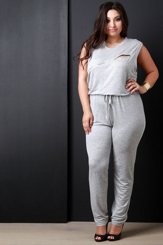 French Terry Round Neck Zipper Knee Slit Jumpsuit