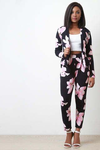 Textured Floral High Waisted Pants