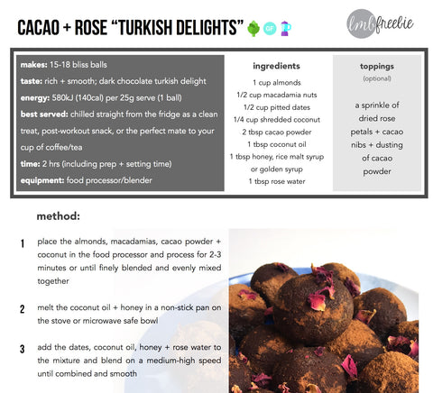 FREEBIE: Cacao + Rose Turkish Delight Balls