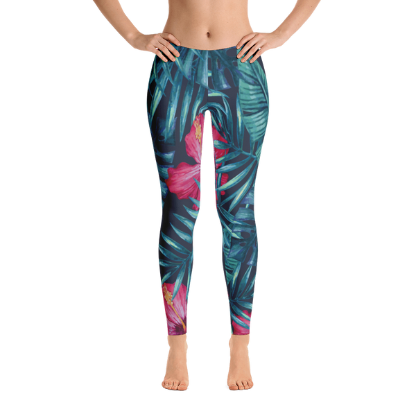 tropical nights - full length mid-rise yoga leggings