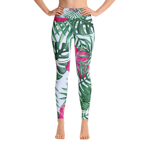 sporty hibiscus - full length yoga leggings