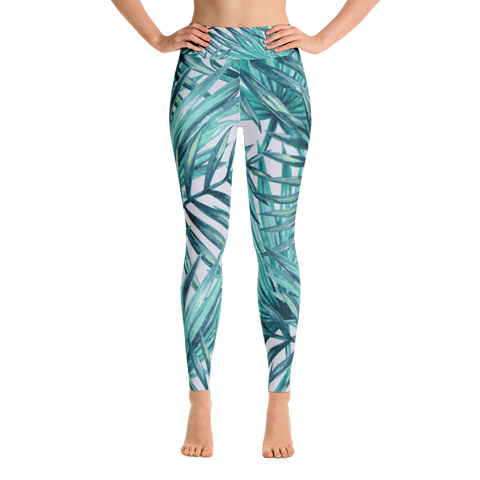 aqua fern - full length yoga leggings