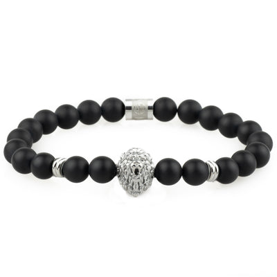 The Lion Bracelet - Silver - Onyx - Marssos