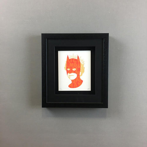 Wall Art - Heath Kane - Rich Enough To Be Batman - Neon Red And Gold - Limited Edition - Framed