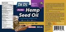 Load image into Gallery viewer, NEW! Dr. D's Pure Hemp Seed Oil with Natural Grape Flavour (250ml)
