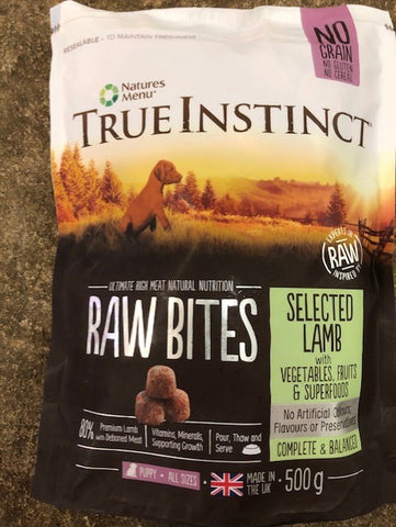 NM True Instinct  Raw Bites LAMB PUPPY 500g Natures Menu  SKU: TIBIPCL