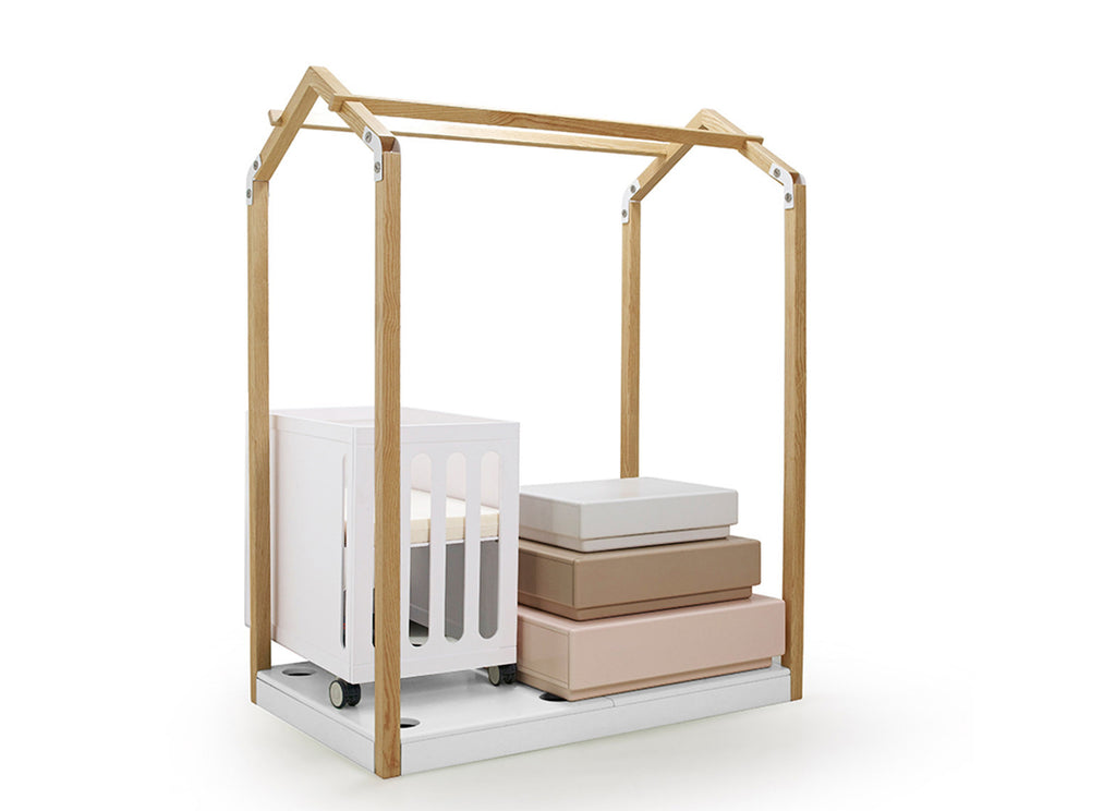 contemporary crib and toddler bed with storage