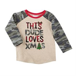 Mud Pie, This Dude Loves Xmas Camo T-Shirt - Precious + Posh