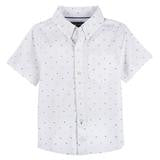 White Clipped Short Sleeve Button Shirt