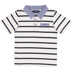 Andy & Evan, White Stripe Polo - Precious + Posh
